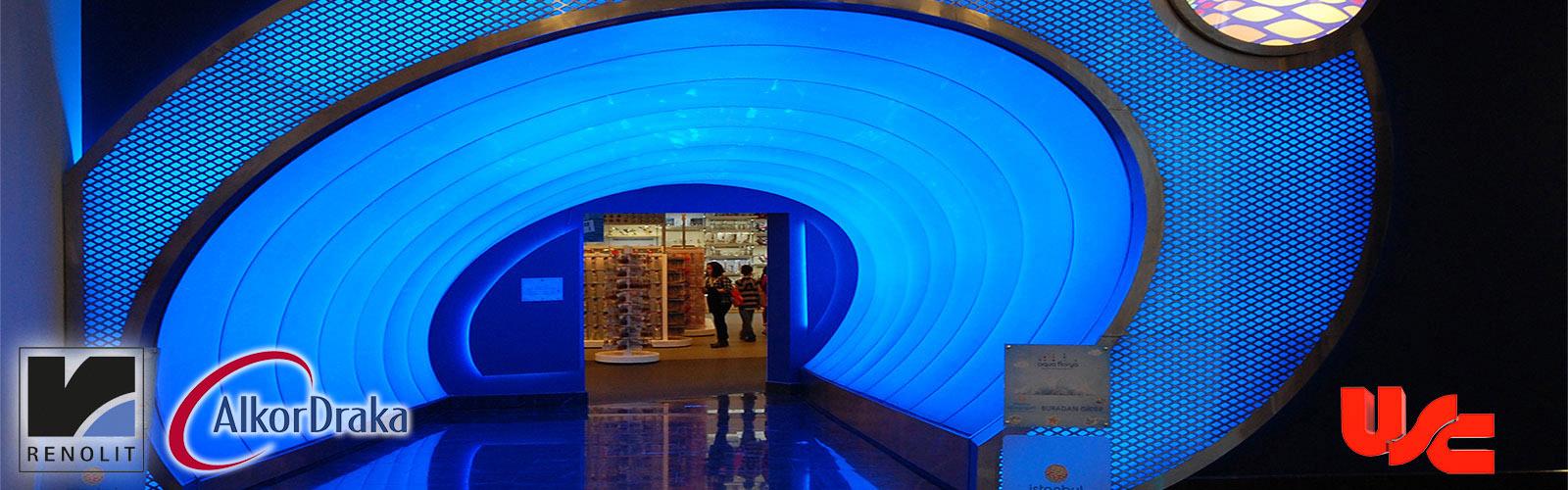 Aqua Florya AVM Gergi Tavan ile tünel tasarımı