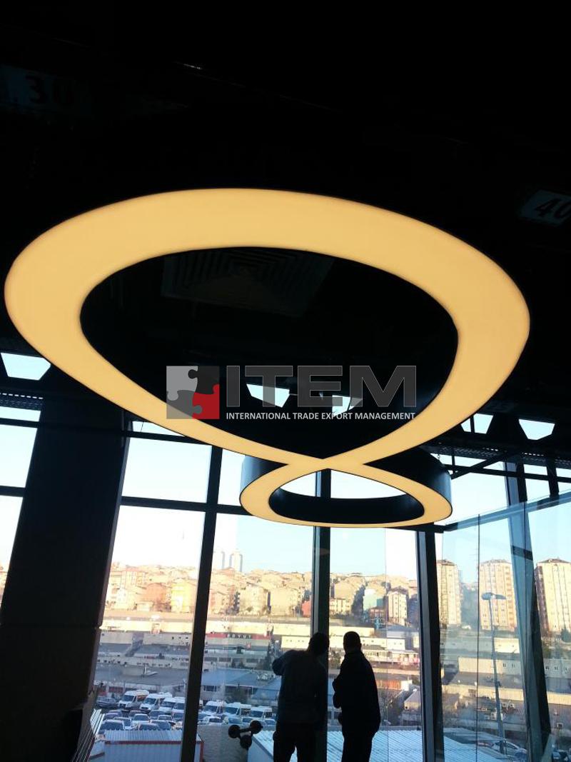Doğan Media Center özel form armatürlü gergi tavan