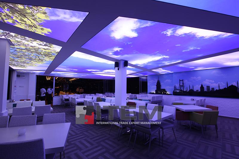 Erbap Cafe asimetrik gökyüzü baskılı gergi tavan uygulama
