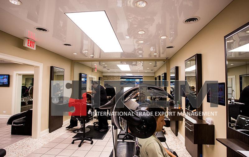 kuaför salonu beyaz lake translucent gergi tavan aydınlatma