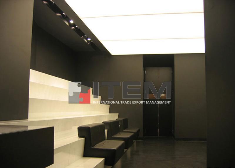 italyan dizayn bekleme salonu gergi tavan aydınlatma