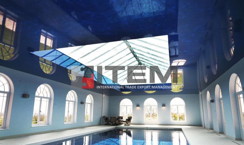 Kapalı havuz mavi lake skylight pvc gergi tavan uygulaması