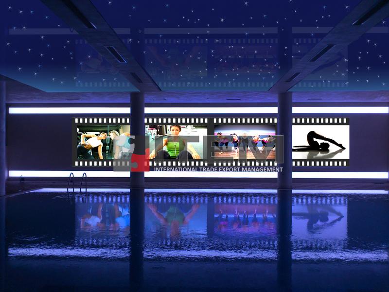 DAP Yapı Royal Towers ödüllü gergi tavan uygulaması baskılı duvar fiberli lake havuz üzeri