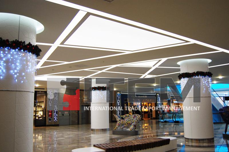 aqua florya avm asimetrik ışık bantlı barisol gergi tavan uygulaması