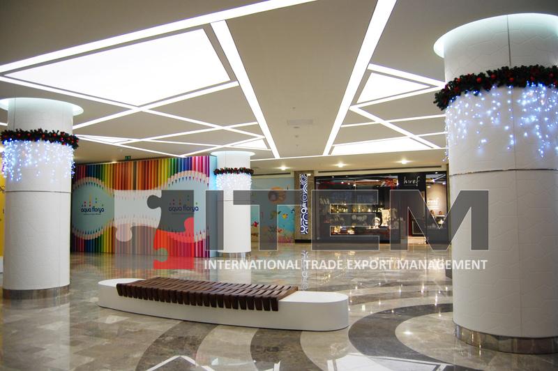 aqua florya avm tünel geçiş asimetrik ışık bantlı gergi tavan uygulaması