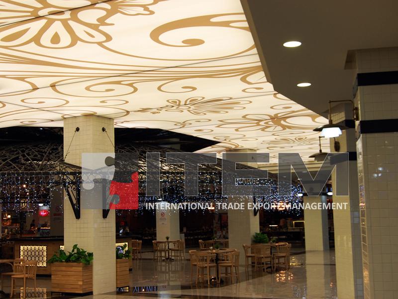Aqua Florya AVM pazar alanı takip eden desenli gergi tavan uygulama