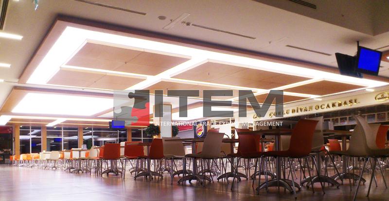 Orion avm ahşap kombine food court gergi tavan uygulaması