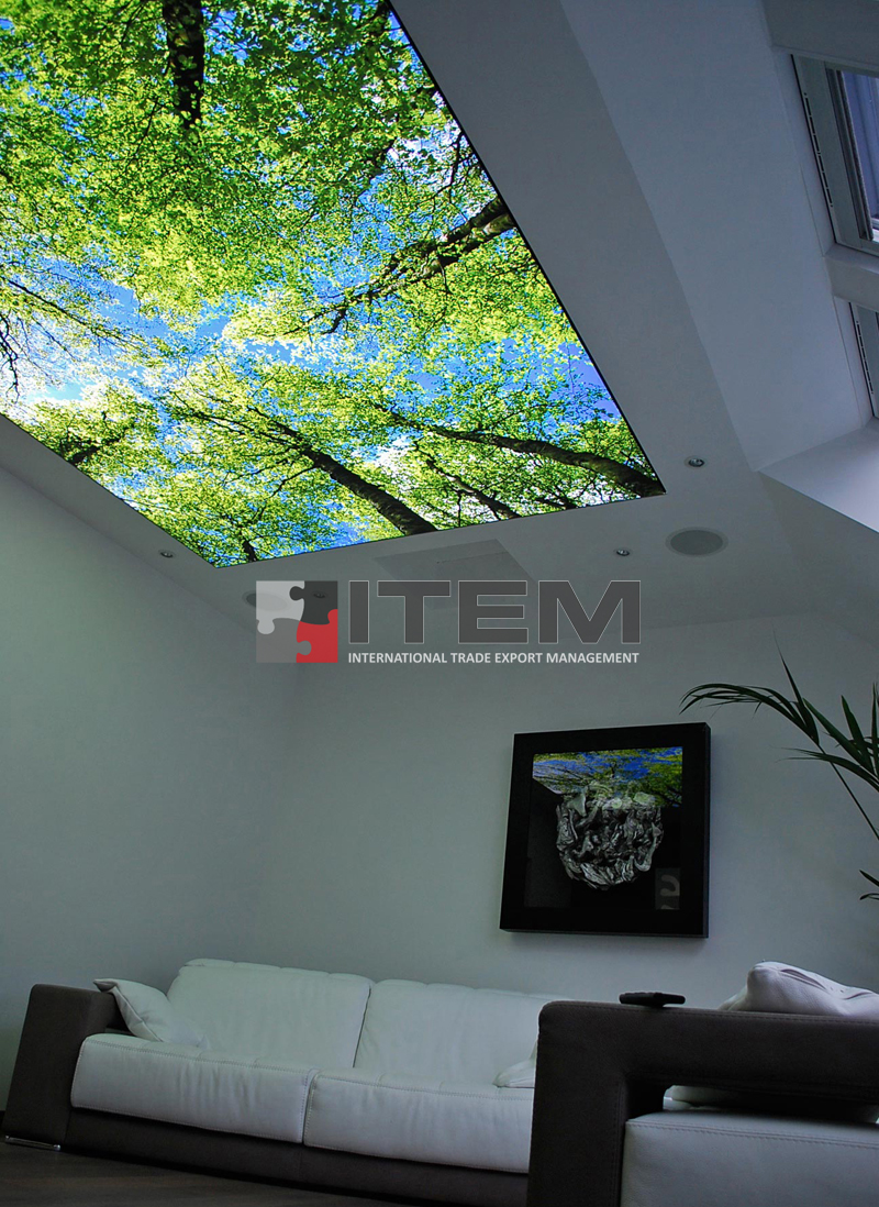 Ormanın rahatlatıcı etkisinin salon tavanına taşındığı gergi tavan uygulama