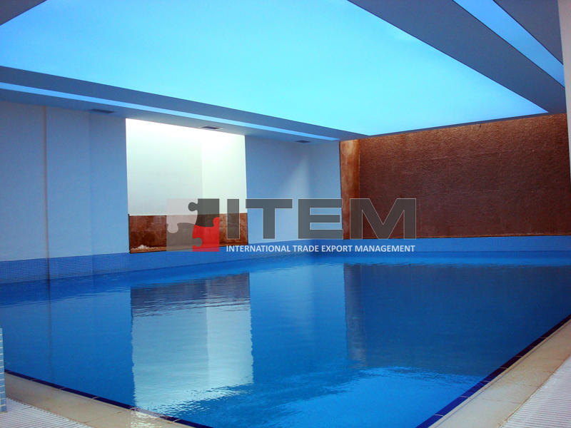 Havuz üzeri mavi baskılı gergi tavan uygulama
