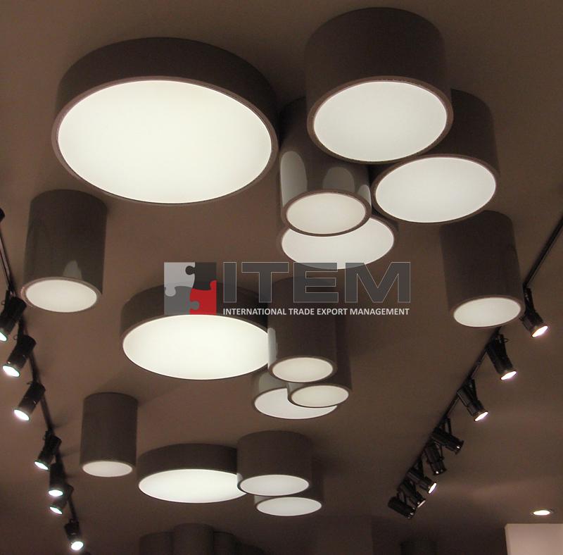 armatürlü asılabilir dairesel asimetrik gergi tavan aydınlatmaları