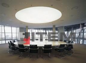 toplantı odası dairesel formlu masa üstü gergi tavan uygulaması