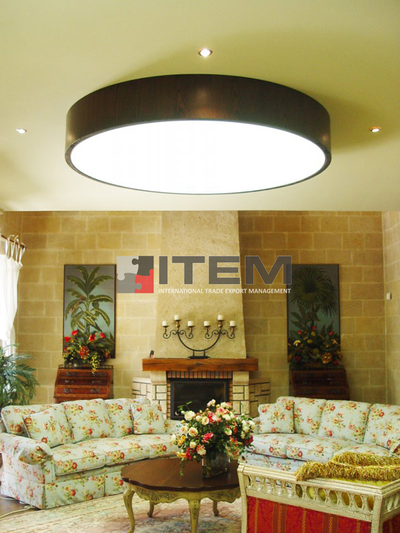 Oturma odası sarkıt ahşap armatür formlu ledli gergi tavan uygulama