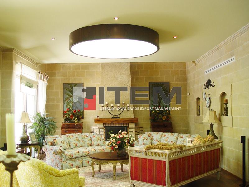 Oturma odası sarkıt armatür formlu ledli gergi tavan uygulama