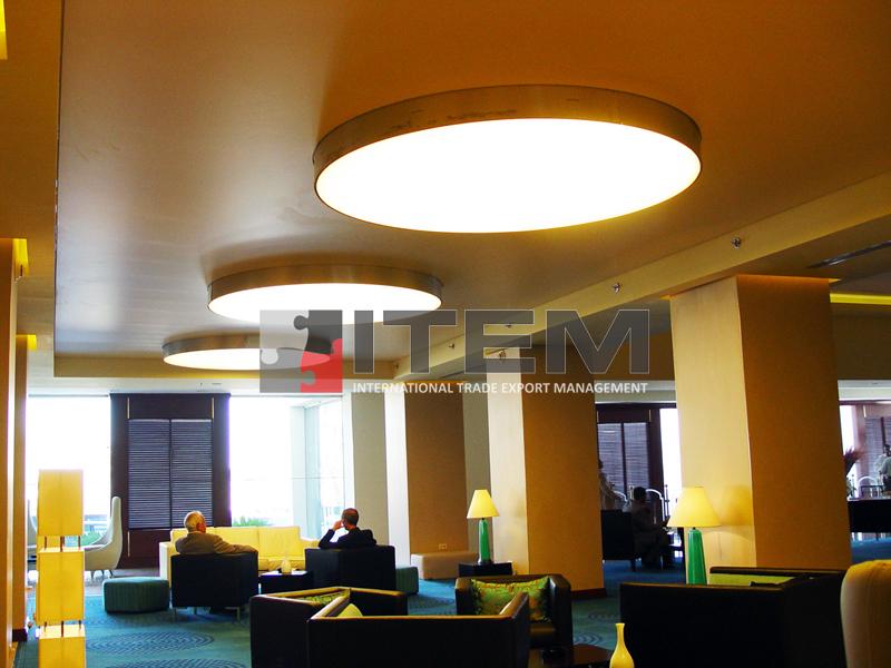 hotel loby armatür formlu sarkıt gergi tavan aydınlatması