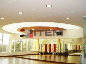 Spor salonu özel dairesel formlu translucent ve lake gergi tavan uygulama