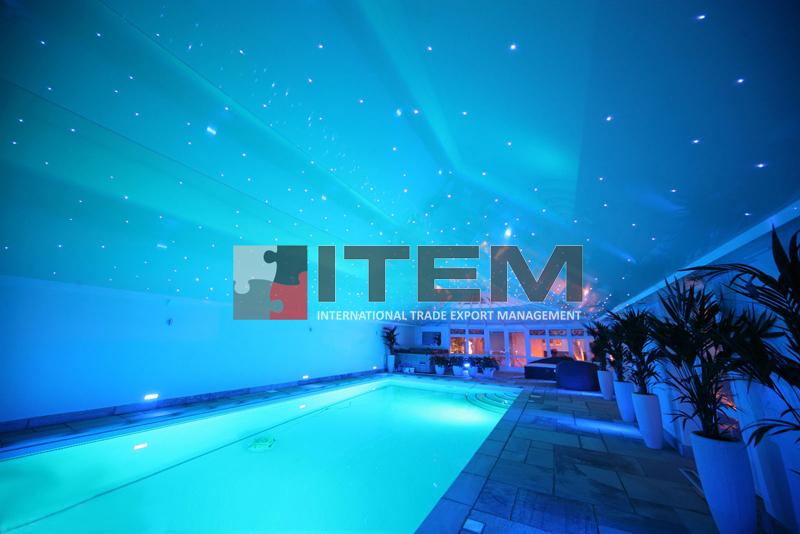 havuz üzeri fiberli yıldızlı gergi tavan uygulama