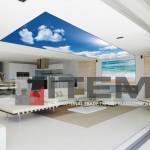 Salonda sahil ve gökyüzü kombine barrisol gergi tavan uygulaması