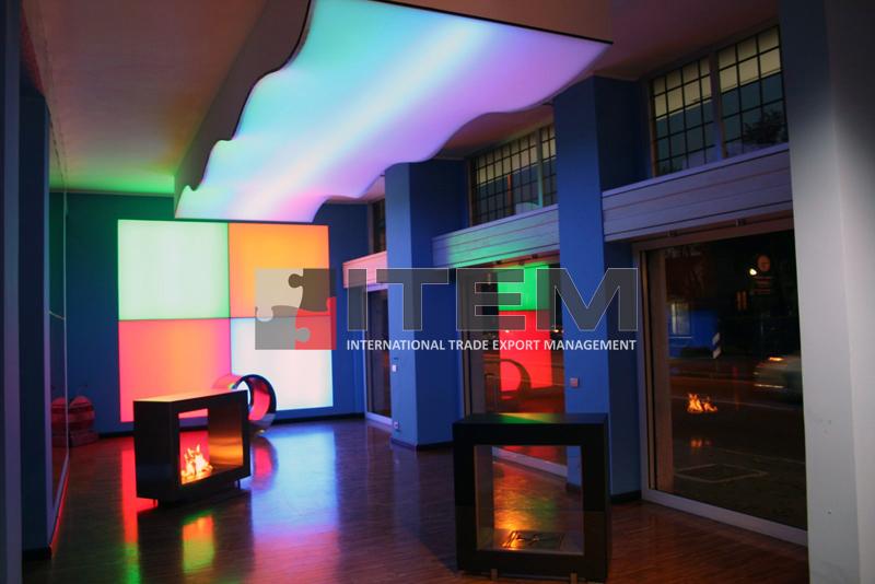 Mağaza içi dalga formlu RGB aydınlatmalı gergi tavan